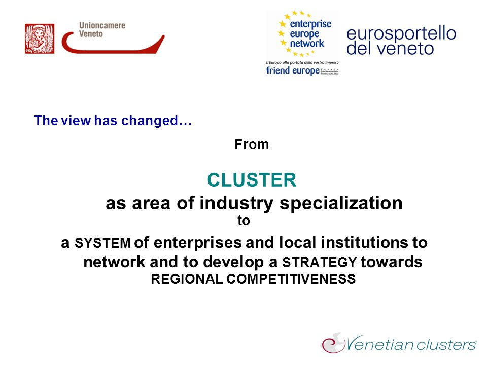 From CLUSTER as area of industry specialization