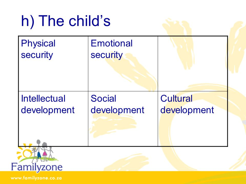 h) The child's Physical security Emotional security