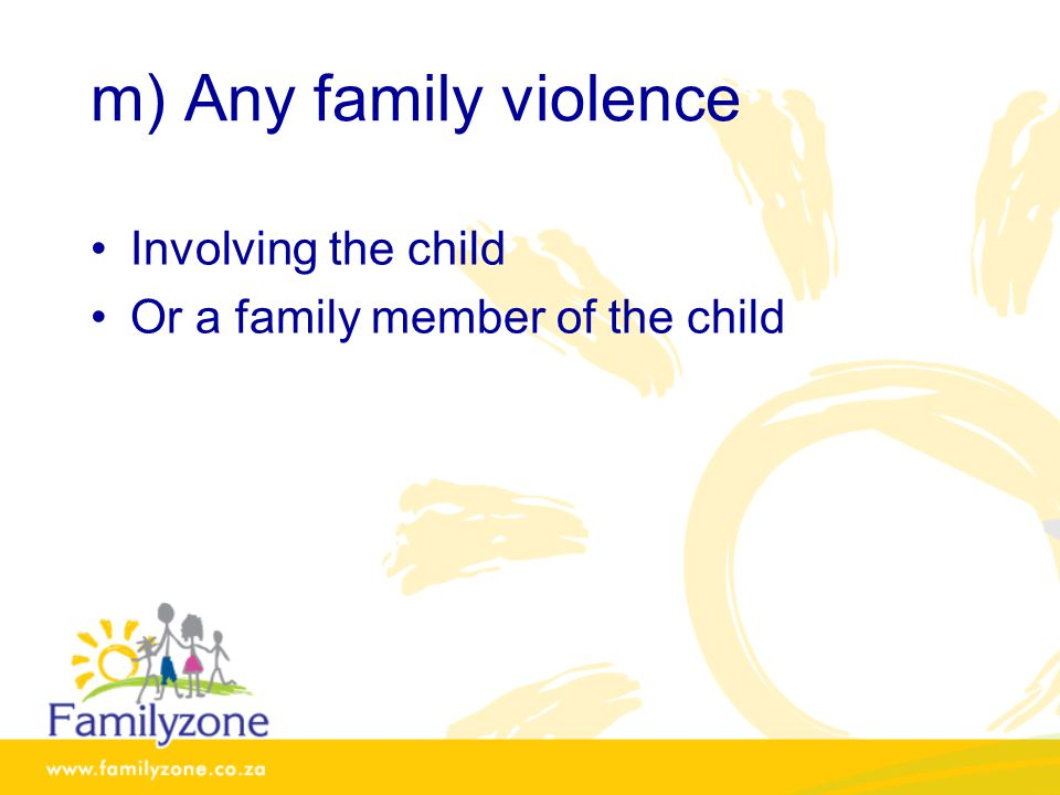 m) Any family violence Involving the child