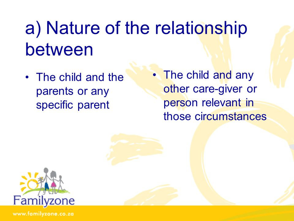 a) Nature of the relationship between