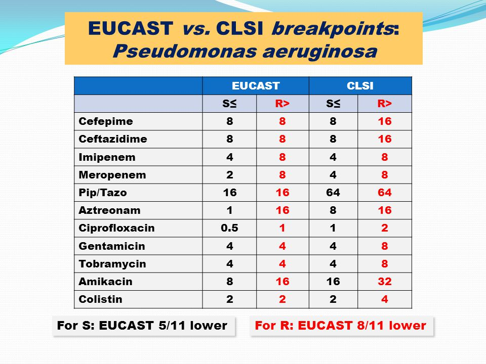 EUCAST vs. CLSI breakpoints: Pseudomonas aeruginosa