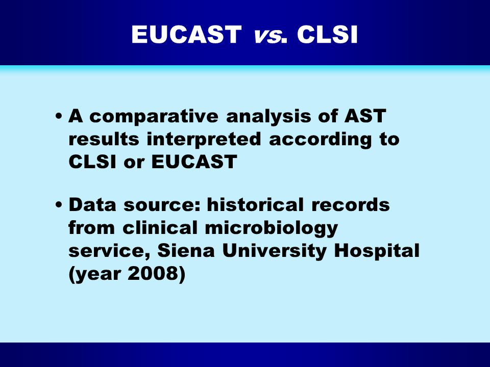 EUCAST vs. CLSI A comparative analysis of AST results interpreted according to CLSI or EUCAST.