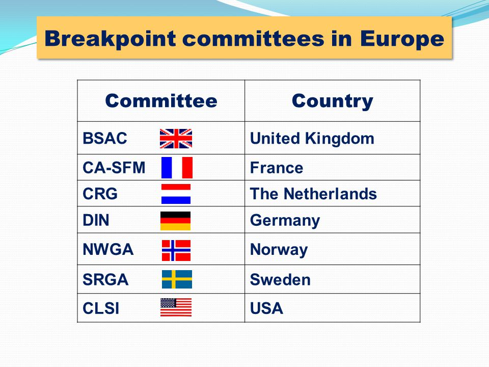 Breakpoint committees in Europe