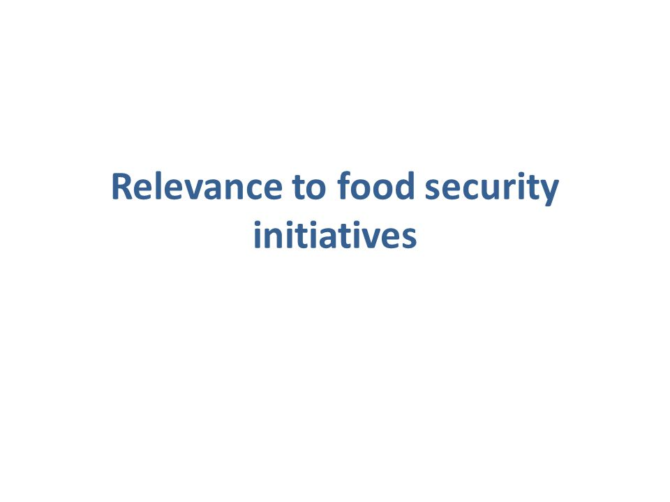 Relevance to food security initiatives