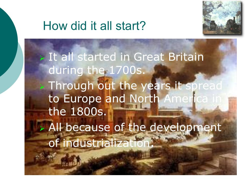 How did it all start It all started in Great Britain during the 1700s. Through out the years it spread to Europe and North America in the 1800s.