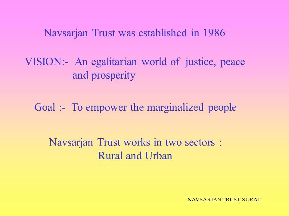 Navsarjan Trust works in two sectors :