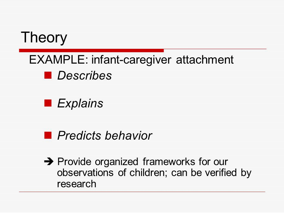 Theory Describes Explains Predicts behavior