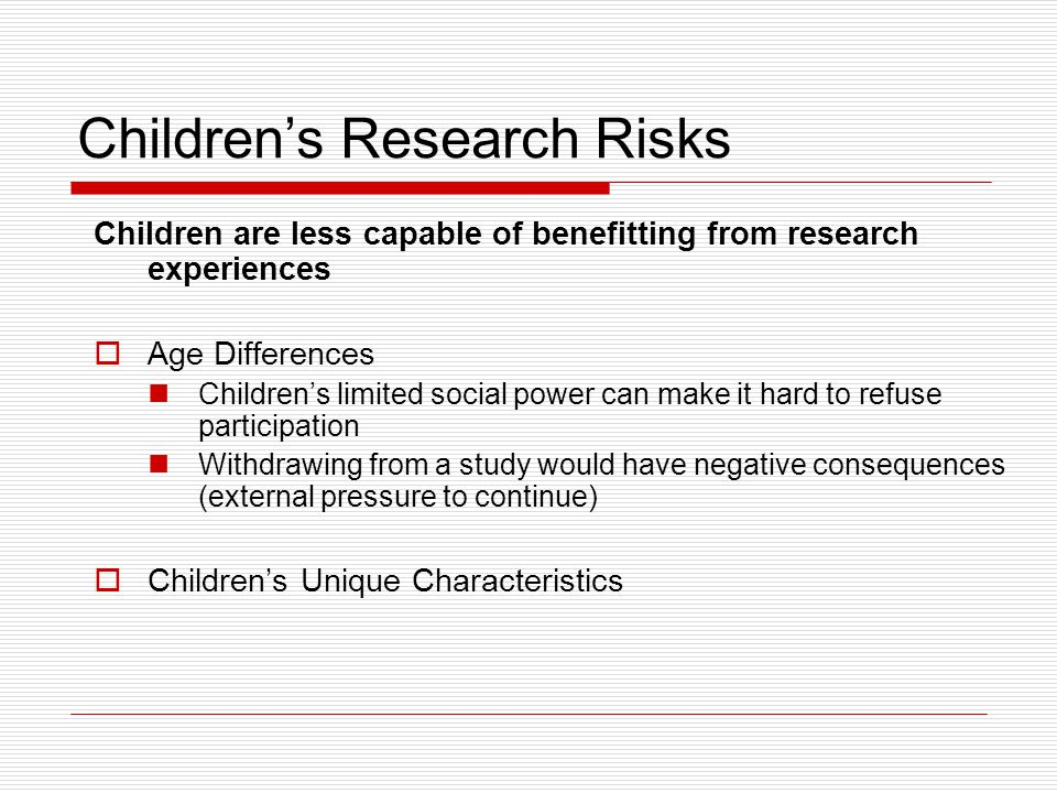Children's Research Risks