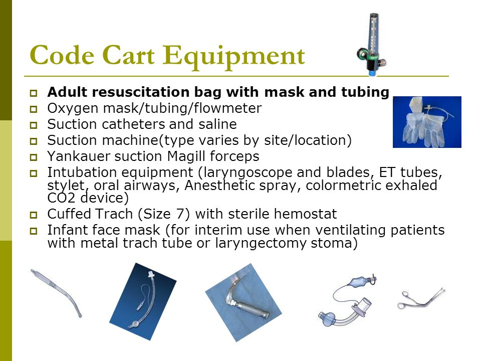 Code Cart Equipment Adult resuscitation bag with mask and tubing
