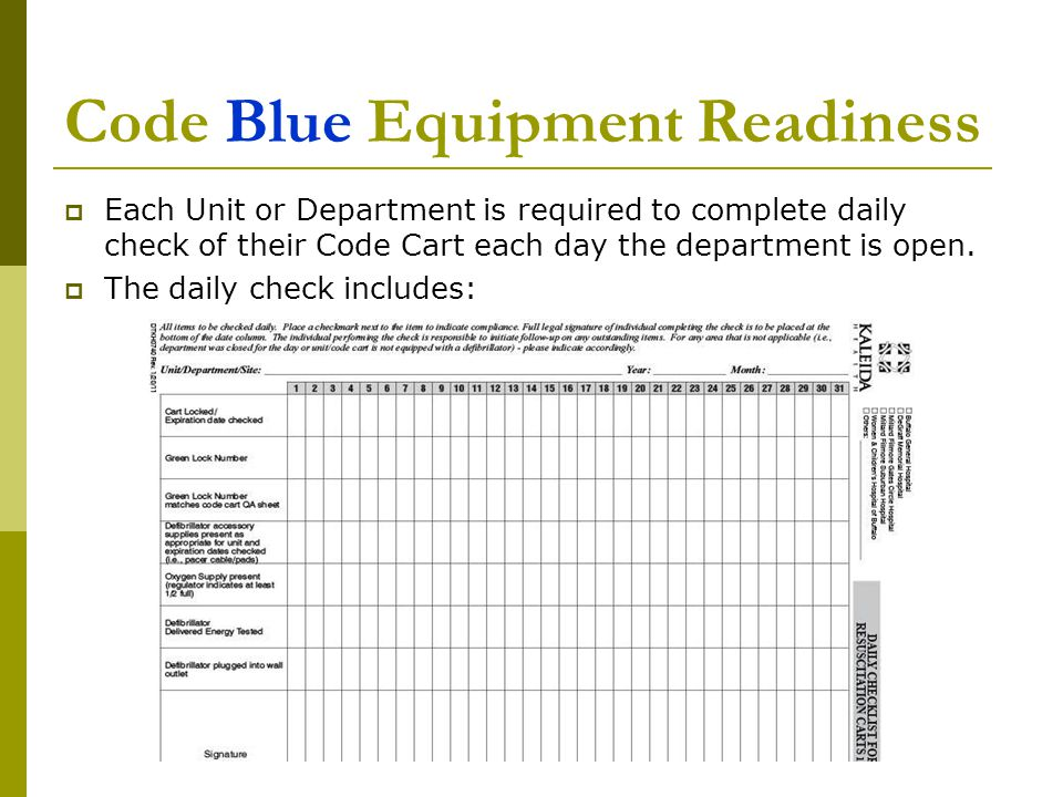 Code Blue Equipment Readiness