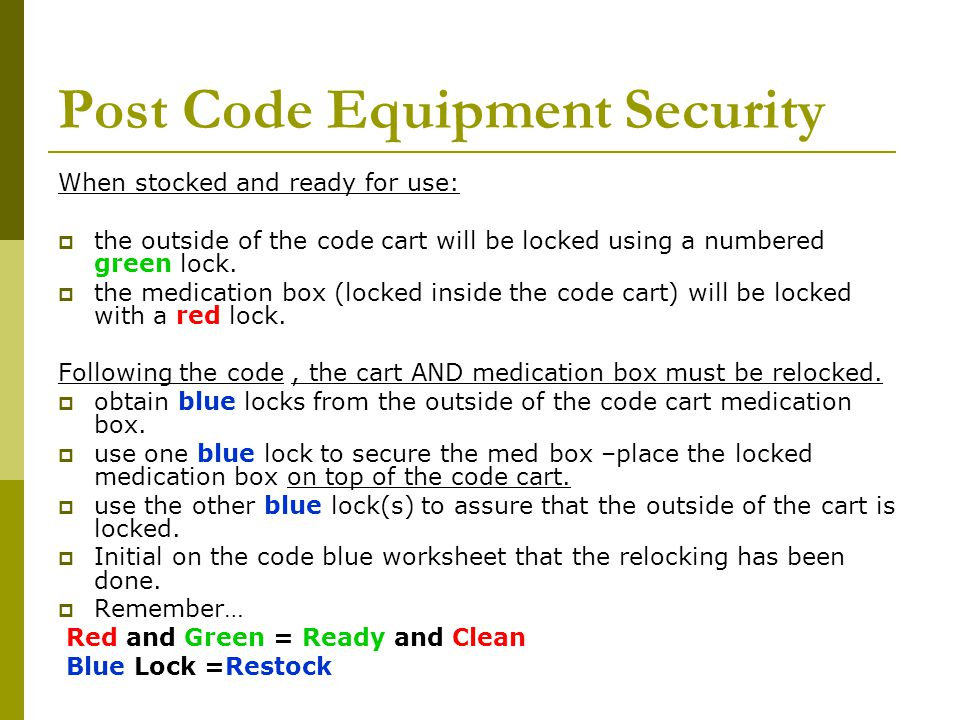 Post Code Equipment Security