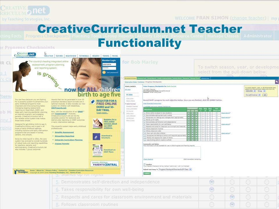CreativeCurriculum.net Teacher Functionality