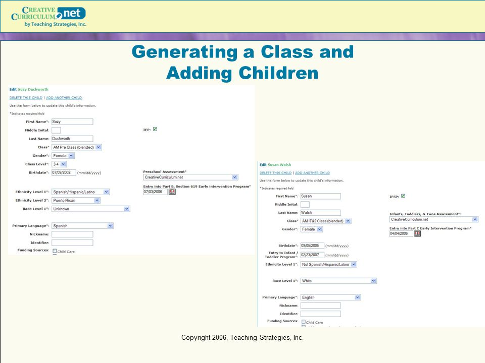 Generating a Class and Adding Children