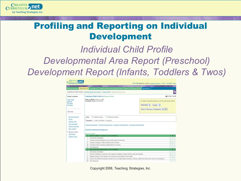 Profiling and Reporting on Individual Development
