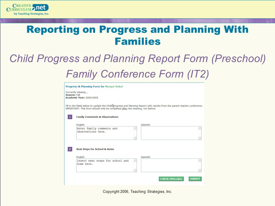 Reporting on Progress and Planning With Families