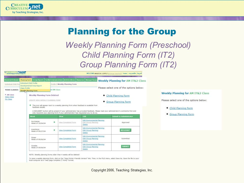 Planning for the Group Weekly Planning Form (Preschool)