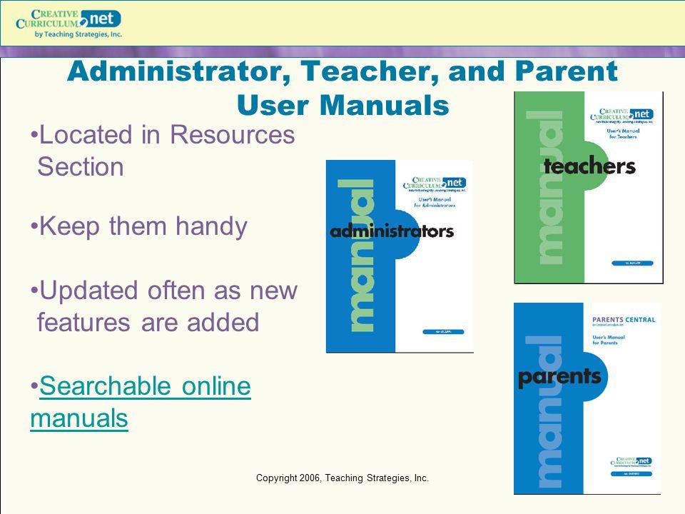 Administrator, Teacher, and Parent User Manuals