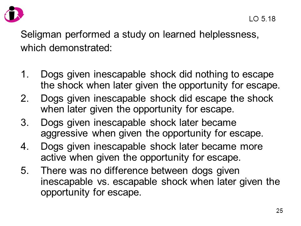 Seligman performed a study on learned helplessness,