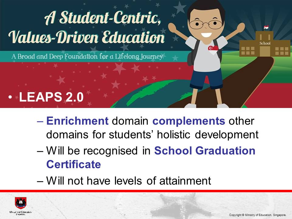 LEAPS 2.0 Enrichment domain complements other domains for students' holistic development. Will be recognised in School Graduation Certificate.