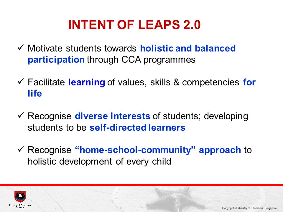 INTENT OF LEAPS 2.0 Motivate students towards holistic and balanced participation through CCA programmes.
