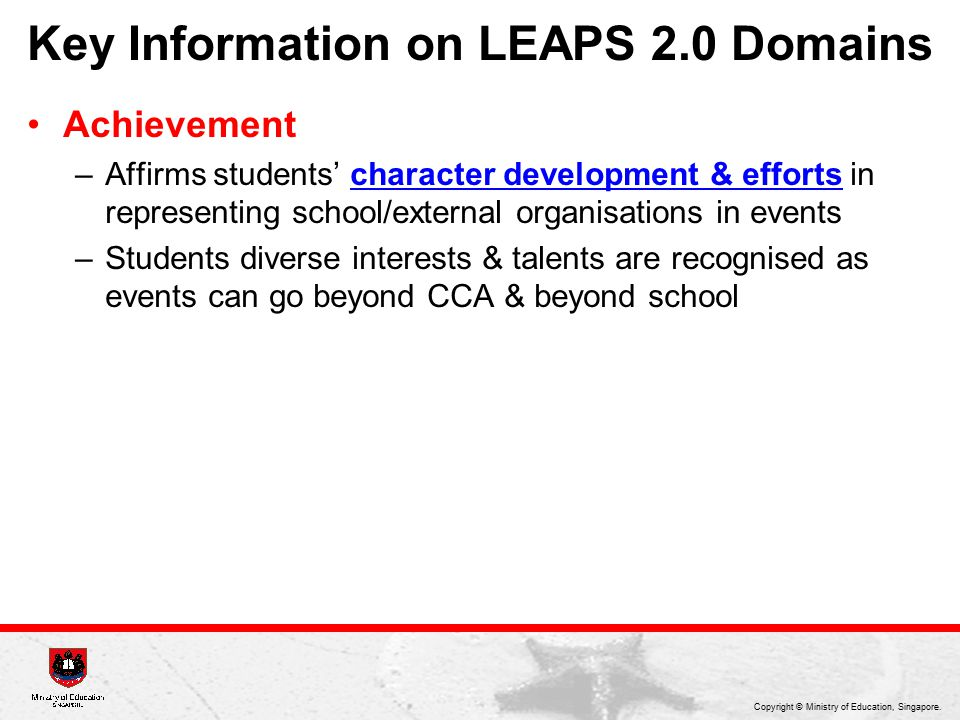 Key Information on LEAPS 2.0 Domains