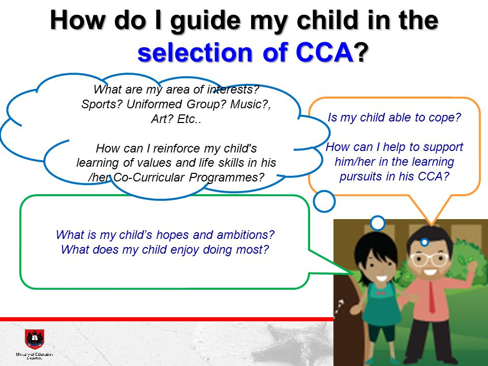 How do I guide my child in the selection of CCA