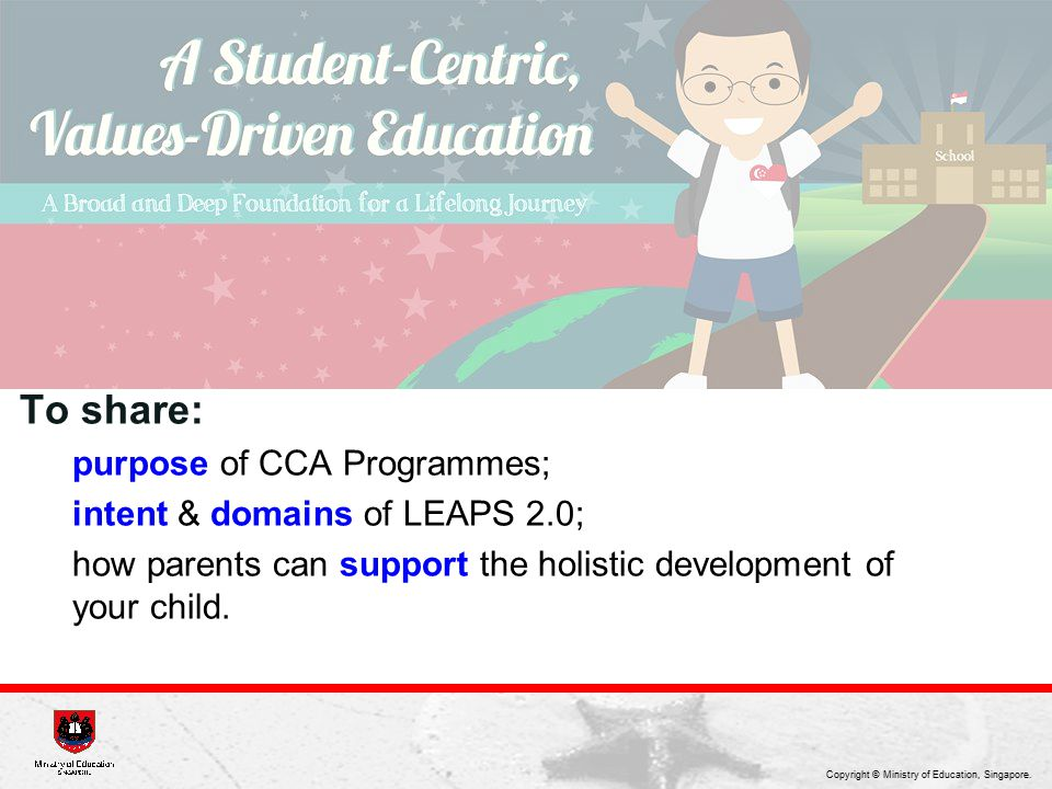 To share: purpose of CCA Programmes; intent & domains of LEAPS 2.0;