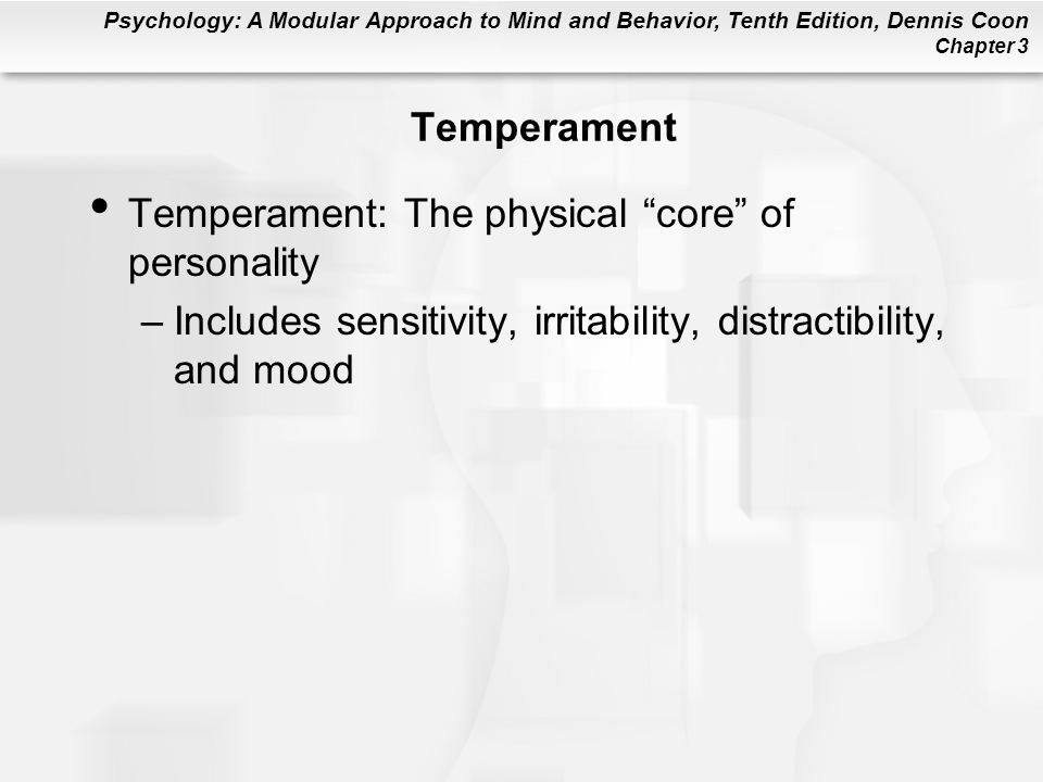 Temperament Temperament: The physical core of personality.