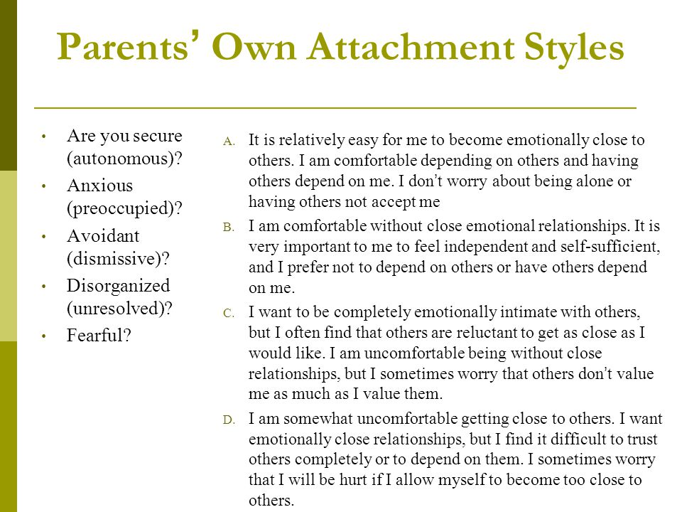 Parents' Own Attachment Styles