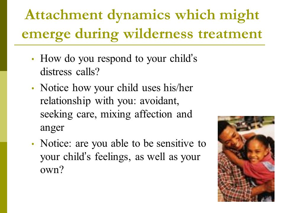 Attachment dynamics which might emerge during wilderness treatment