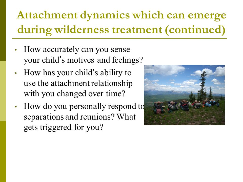 Attachment dynamics which can emerge during wilderness treatment (continued)