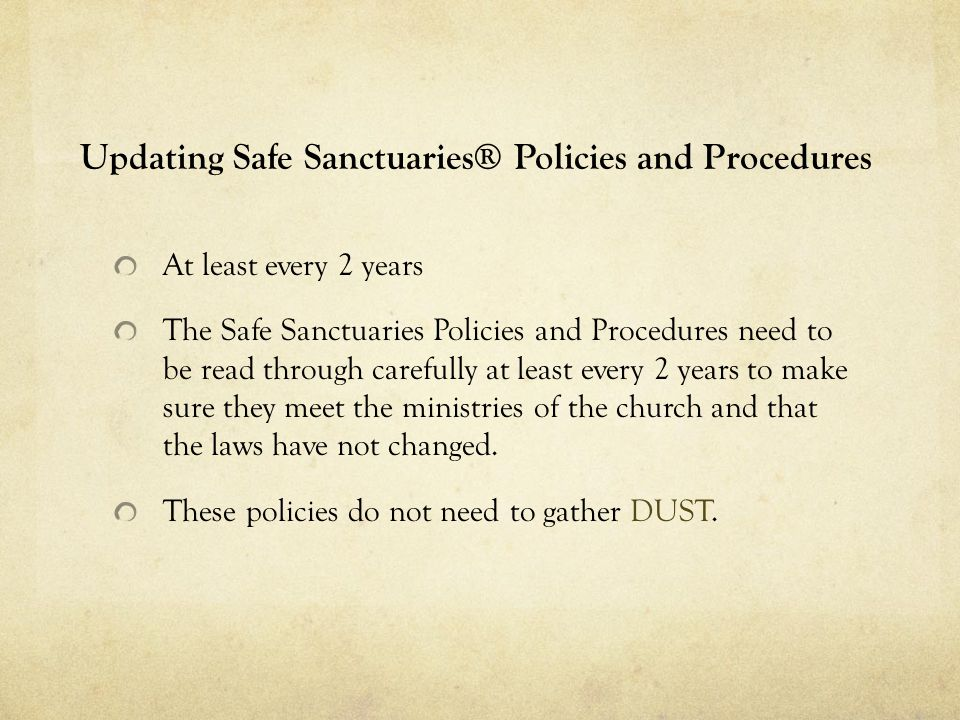 Updating Safe Sanctuaries® Policies and Procedures