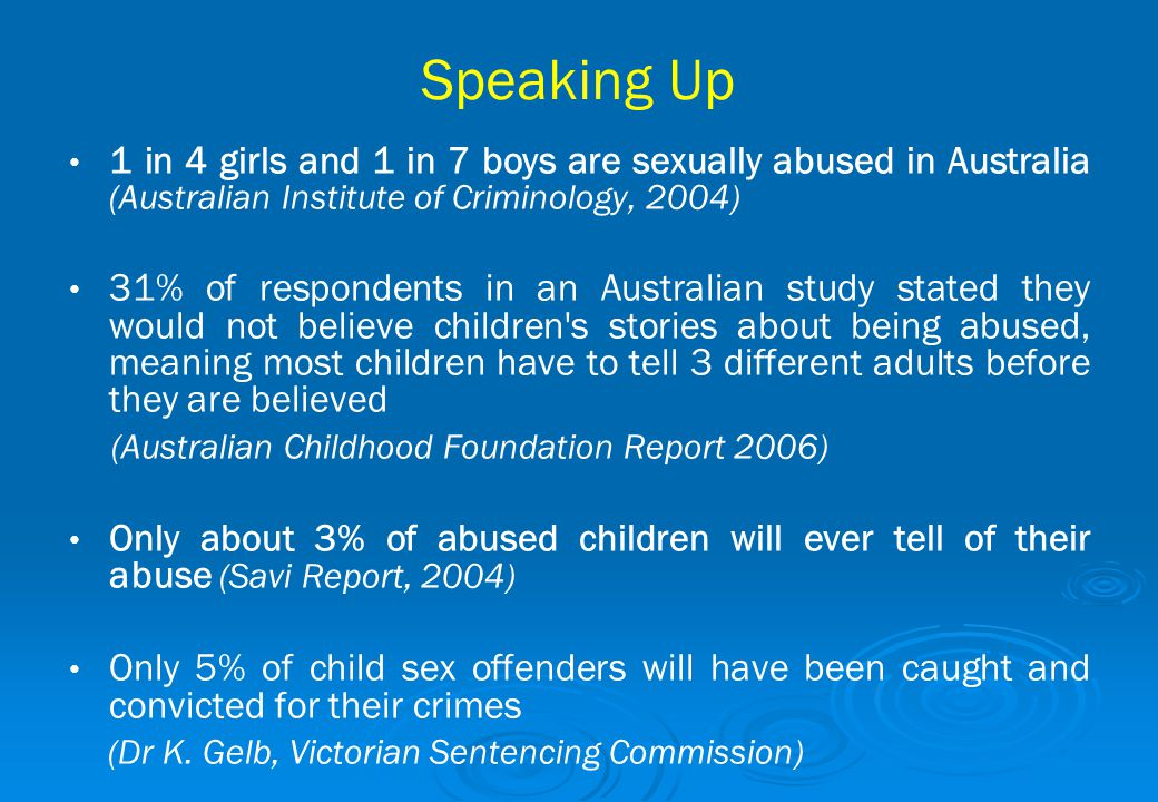 Speaking Up 1 in 4 girls and 1 in 7 boys are sexually abused in Australia (Australian Institute of Criminology, 2004)