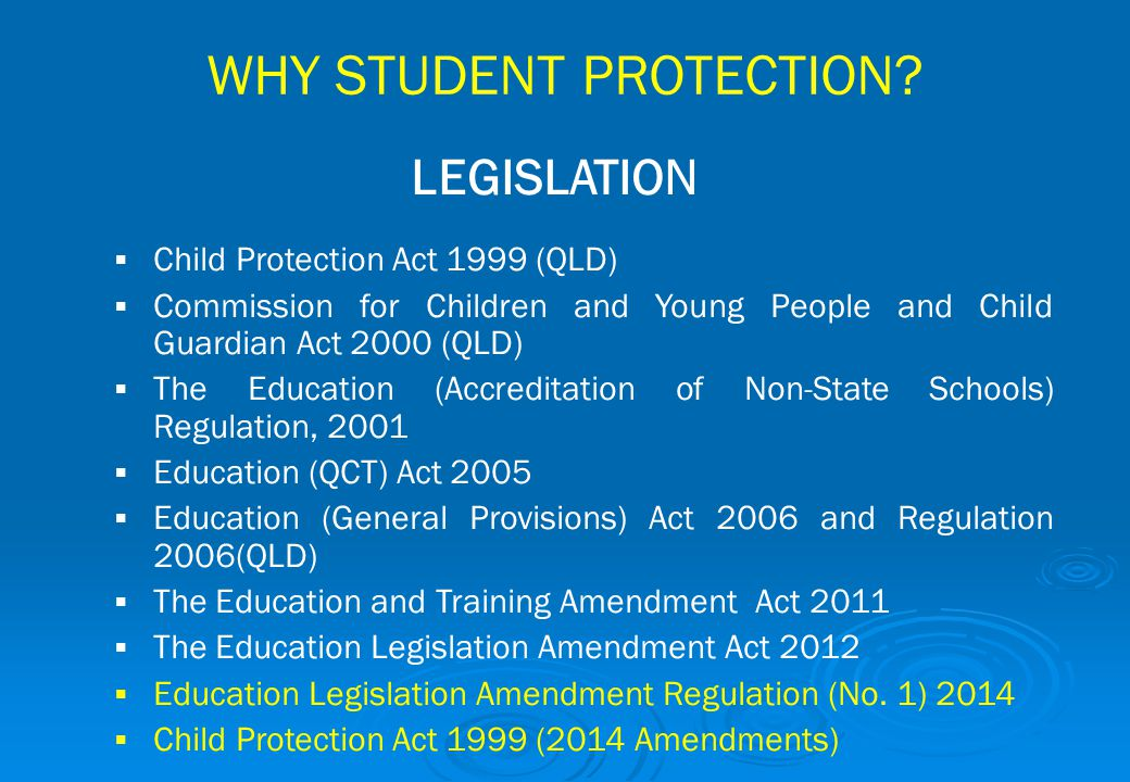 WHY STUDENT PROTECTION