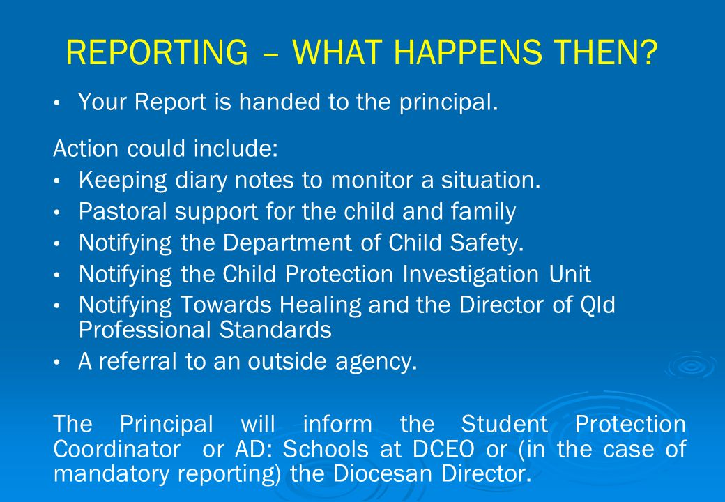 REPORTING – WHAT HAPPENS THEN