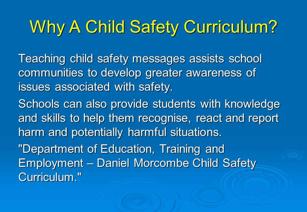 Why A Child Safety Curriculum
