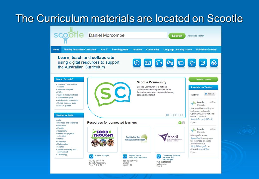 The Curriculum materials are located on Scootle