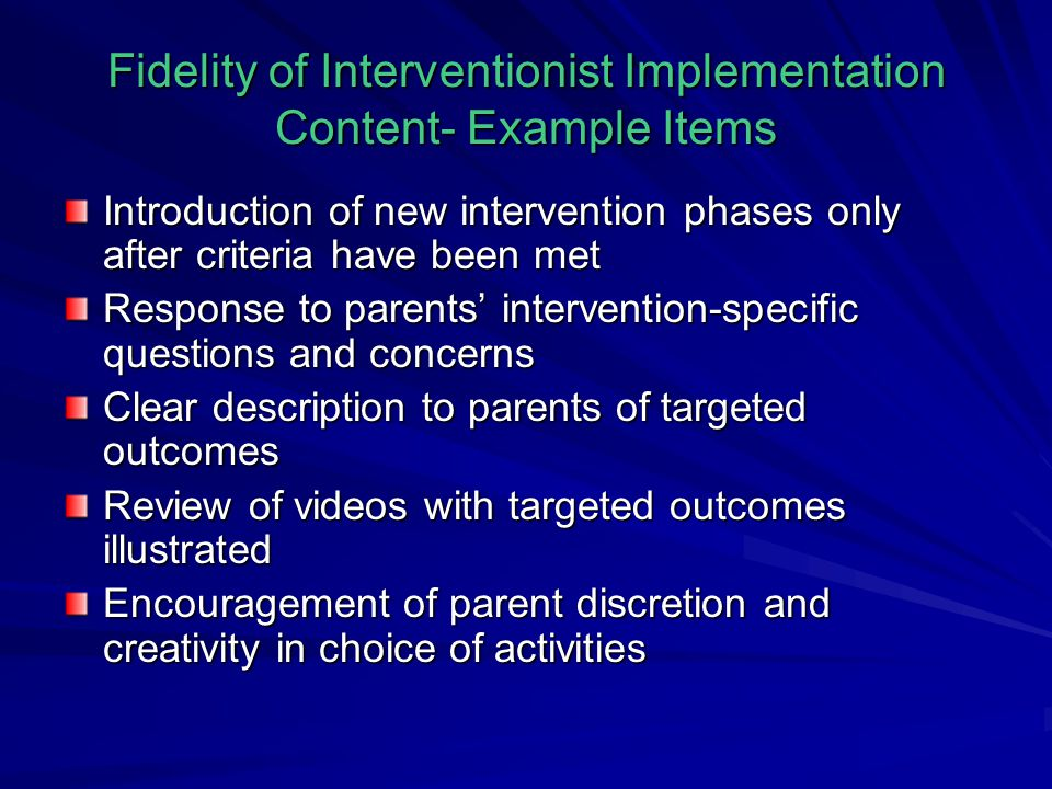 Fidelity of Interventionist Implementation Content- Example Items