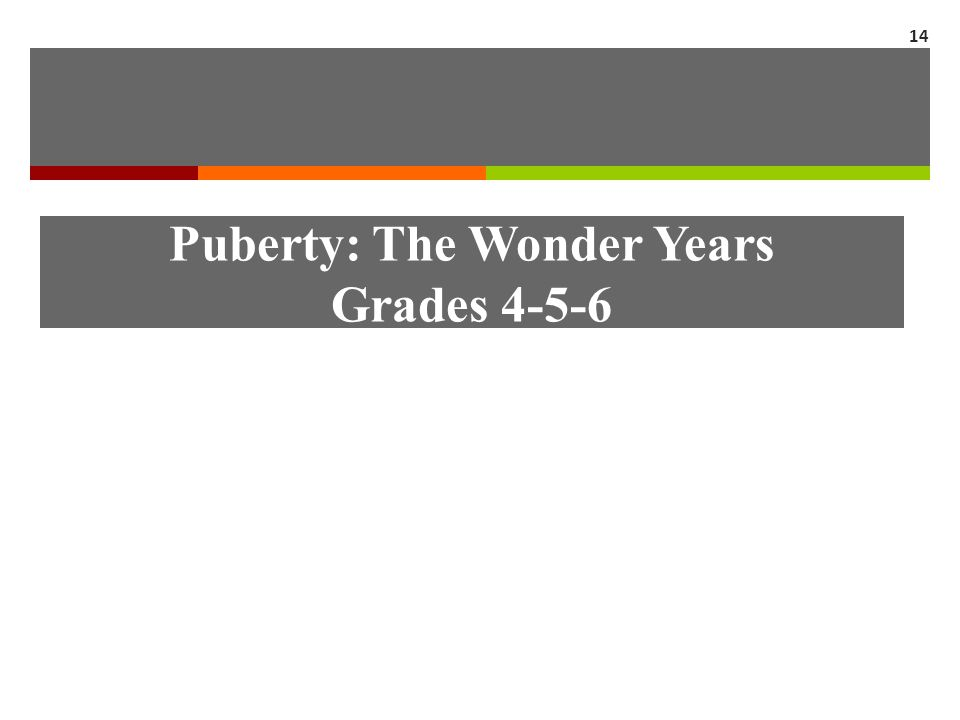 Puberty: The Wonder Years Grades 4-5-6