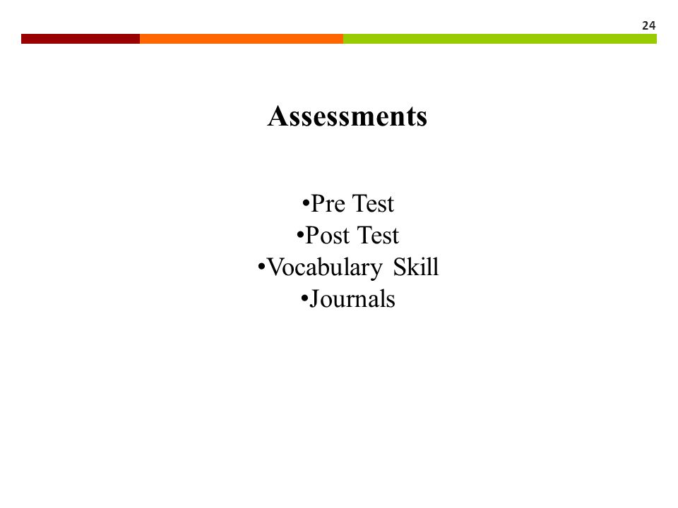 Assessments Pre Test Post Test Vocabulary Skill Journals