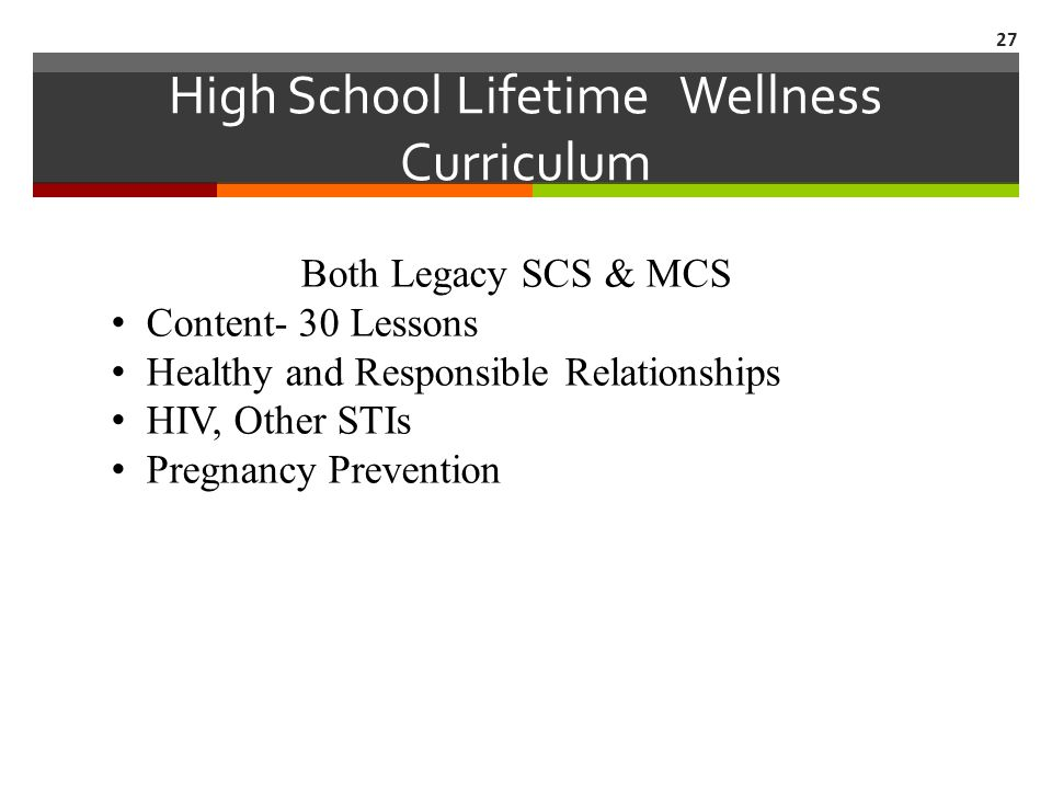 High School Lifetime Wellness Curriculum