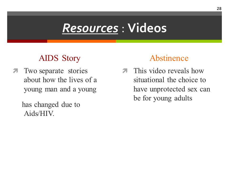 Resources : Videos AIDS Story Abstinence