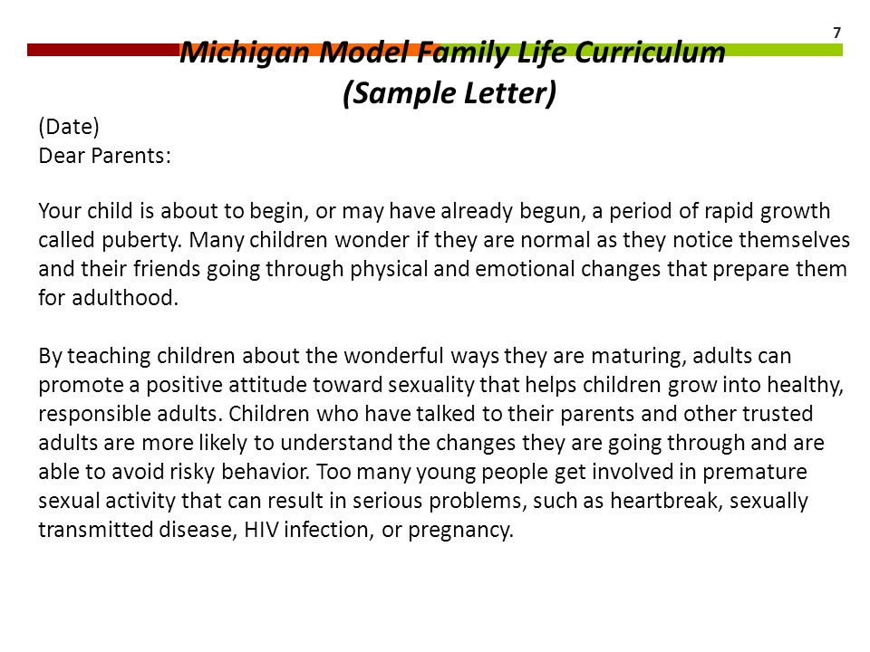 Michigan Model Family Life Curriculum