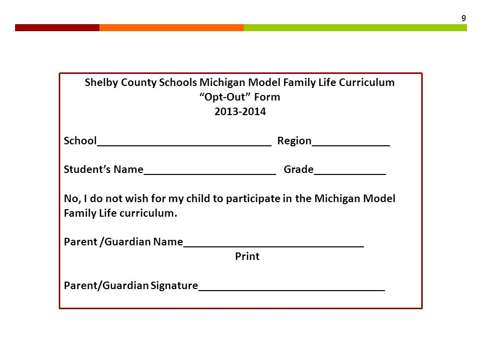 Shelby County Schools Michigan Model Family Life Curriculum