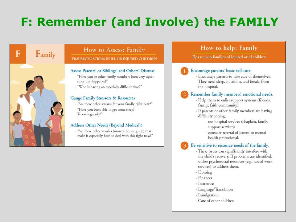 F: Remember (and Involve) the FAMILY