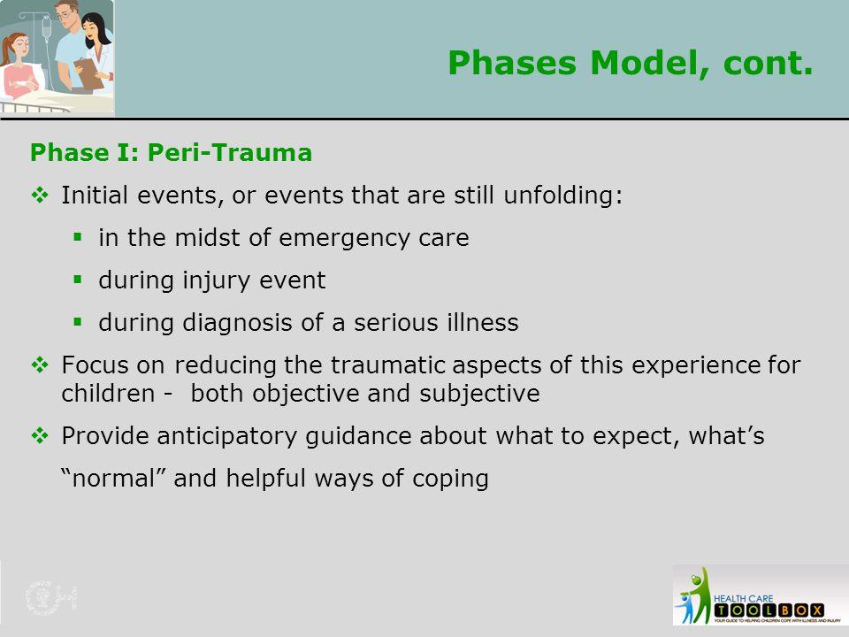 Phases Model, cont. Phase I: Peri-Trauma