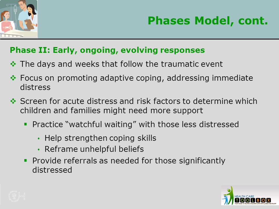Phases Model, cont. Phase II: Early, ongoing, evolving responses
