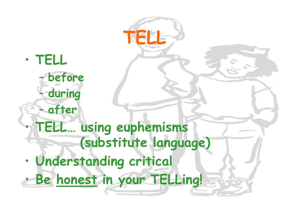 TELL TELL TELL… using euphemisms (substitute language)