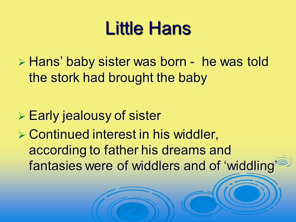 Little Hans Hans' baby sister was born - he was told the stork had brought the baby. Early jealousy of sister.