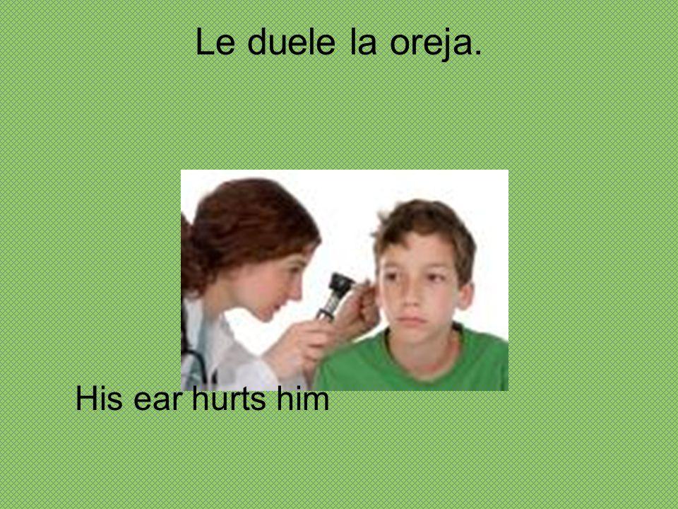 Le duele la oreja. His ear hurts him